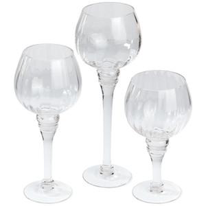 3er Windlicht-Set aus Glas