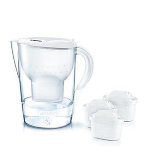 Brita fill & enjoy Starterpaket Marella Cool, Gesamtvolumen 2,4 l (gefiltertes Wasser 1,4 l), incl. 3 Kartuschen MAXTRA+ , Farbe Weiß