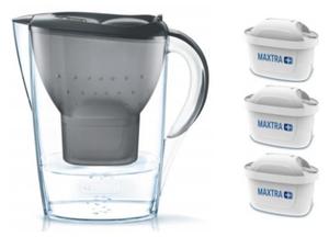 Brita fill & enjoy Starterpaket Marella Cool, Gesamtvolumen 2,4 l (gefiltertes Wasser 1,4 l), incl. 3 Kartuschen MAXTRA+ , Farbe Anthrazit
