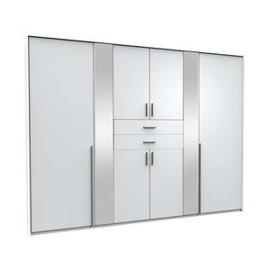Drehtürenschrank VANEA - weiß - 2 Spiegel - 270 cm breit