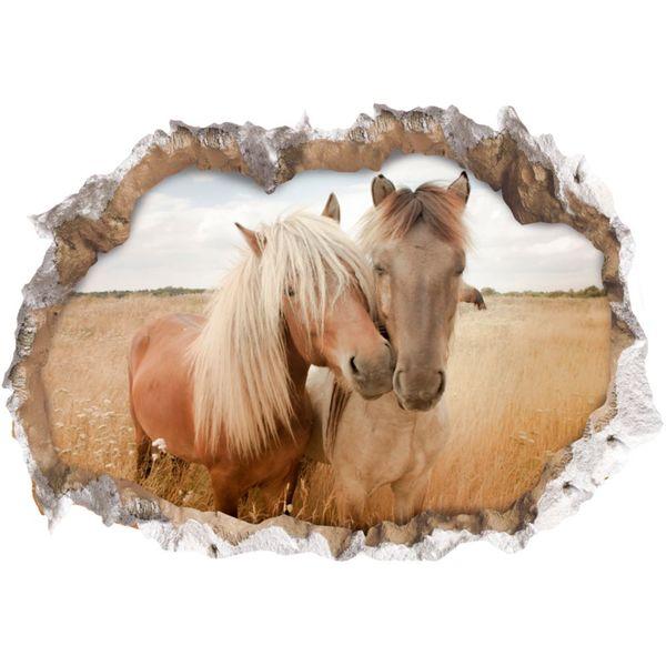 Wandtattoo 3D Pferde mehrfarbig