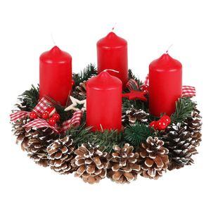 Deko-Adventskranz mit 4 Kerzenhaltern Rot 30cm