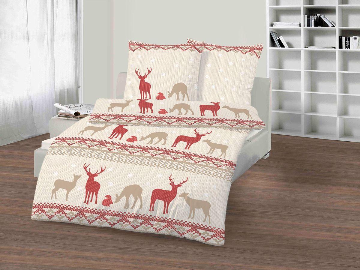 Bild 1 von Dobnig Biberbettwäsche Winter-Traum Hirsch beige-rot
