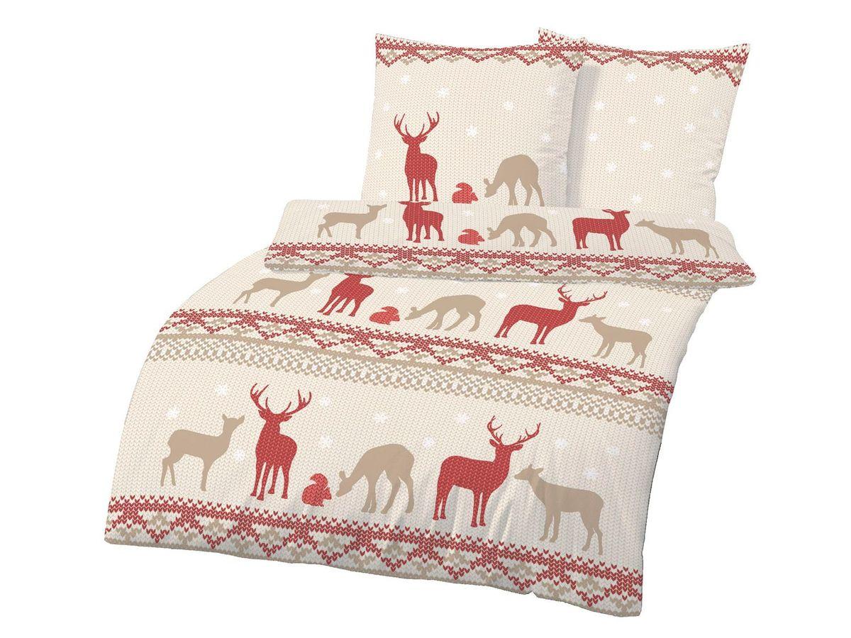 Bild 2 von Dobnig Biberbettwäsche Winter-Traum Hirsch beige-rot