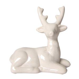Deko-Hirsch 15x15x7cm Glänzend Weiß