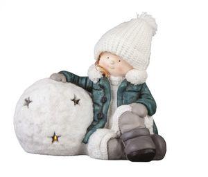 Winterkind mit Schneeball - Maße: ca, 38,5 x 23,5 x 32 cm