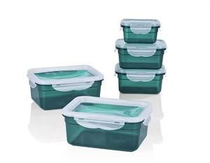 Frischhaltedosen Klick-it 10-teilig, Farbe Smaragd mit flexiblem Deckel Gourmet Maxx