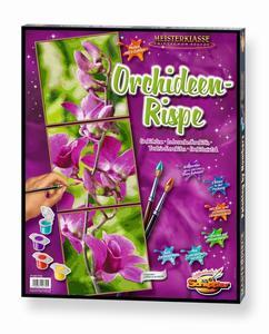 Malen nach Zahlen Triptychon Orchideenrispe