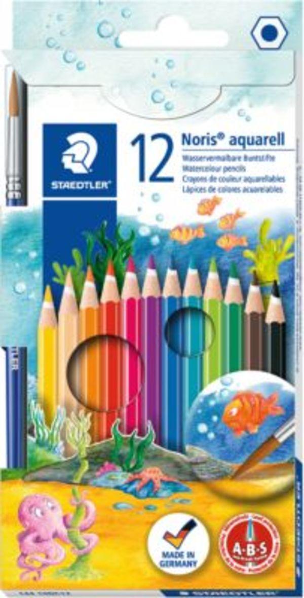 NORIS Club AquarellBuntstifte, 12 Farben, inkl. Pinsel