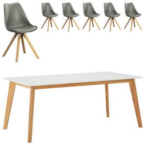 Essgruppe Blokhus (90x180, 6 Stühle, grau)
