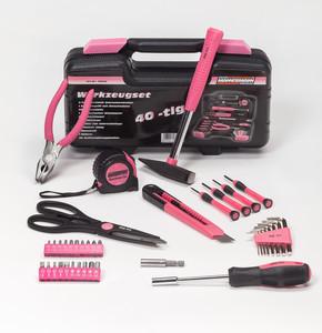Brüder Mannesmann Werkzeugkoffer 40-tlg., Farbe Pink (Rosa)