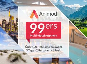 Multi Hotel Gutschein 3 Tage Kurzurlaub 2 Personen mit Frühstück über 100 Hotels zur Auswahl Animod 99ers