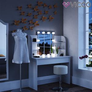 VICCO LED Schminktisch CHARLOTTE 142x108 cm Weiß - Frisiertisch Kommode Spiegel