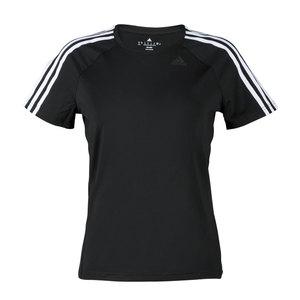adidas Damen Sport Fitness T-Shirt D2M TEE 3 Streifen schwarz weiss, Größe:M