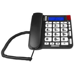 MEDION LIFE® E63195 Großtasten-Telefon, LCD Display mit blauer Hintergrundbeleuchtung, Hörgerätekompatibel, bis zu 199 Telefonbucheinträge, Freisprechfunktion (B-Ware)