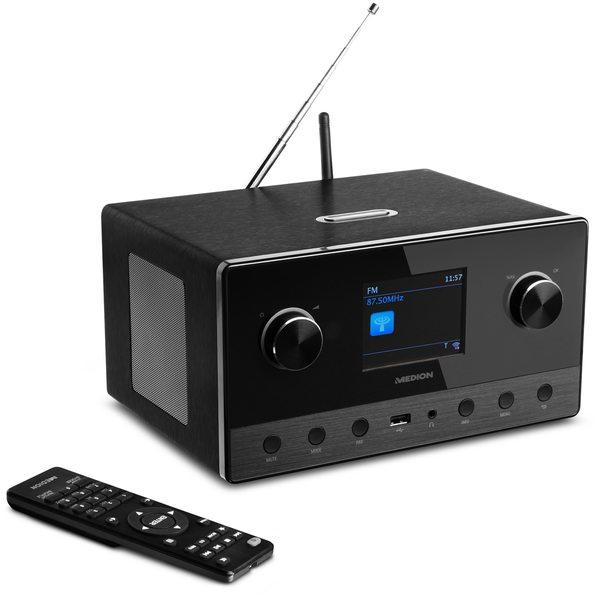 "MEDION LIFE® P85111 WLAN Internet-Radio, 8,1 cm (3,2"") TFT-Display, Multiroom-Funktion, DAB+, UKW, LAN, USB 2.0, AUX, DLNA-/UPnP, 2 x 7 Watt + 1 x 15 Watt RMS"