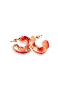 Rote, breite Ohrringe aus Kunstharz