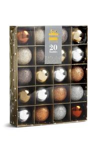 Baumkugeln in Metallic-Optik, 20 Stück