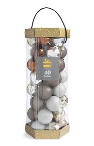 Baumkugeln in Metallic-Optik, 40 Stück