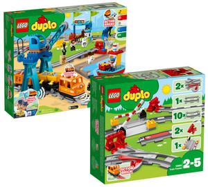 Lego Duplo 10875 Güterzug + Lego Duplo 10882 Eisenbahn Schienen