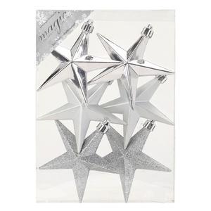 Stern 10 cm, silber, 6 Stück