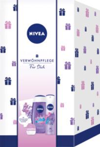 NIVEA Geschenkset #farbtastisch Duschgel Magic Berry 250ml + Deo Spray Magic Pearl 150ml + Labellino Blueberry&Cherry Blossom 7g