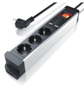 Arendo 3-fach Steckdosenleiste mit 2x USB-Ports (2000mA / 5V) »integrierter Kinderschutz / 1,5m«