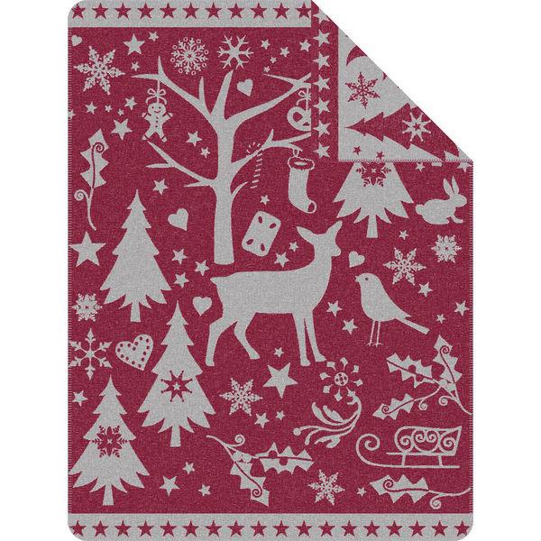 Ibena Wohndecke Weihnachtswald, 150x200 cm, beere/weiß