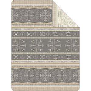 Ibena Wohndecke Schneeflocken, 150x200 cm, grau/sand