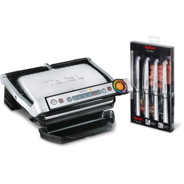 Tefal Kontaktgrill GC702MS.99 OptiGrill mit Steakmesser-Set