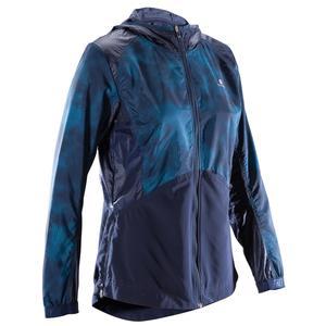 Trainingsjacke Cardio 520 Fitness Damen dunkelblau mit blauen Prints