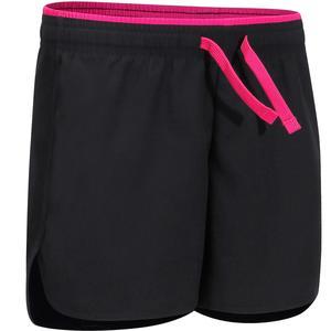Sporthose kurz W500 Gym Kinder schwarz/rosa