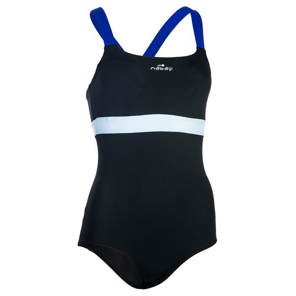 Badeanzug Aqua-Biking Anna chlorresistent Damen schwarz/blau