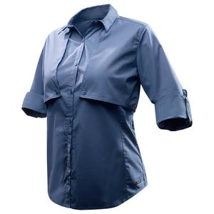 Backpacking-Bluse langarm Travel 500 Damen blau