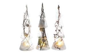 LED Glas Baum in klar/weiß, 25 cm