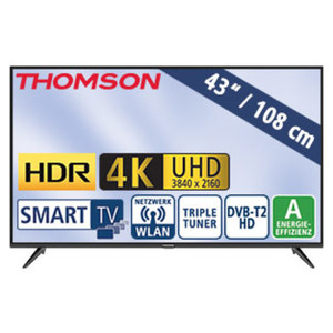 "43""-Ultra-HD-LED-TV 43UD6306 HbbTV, H.265, HDR, Dual-Core, 2 HDMI-Anschlüsse, USB-/CI+-Anschluss, Stand-by: 0,27 Watt, Betrieb: 70 Watt, Maße: H 57,2 x B 97,0 x T 7,8 cm, Energie-Effizienz A (Spekt"