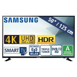 "50""-Ultra-HD-LED-TV UE50NU7099 HbbTV, H.265, HDR (HDR 10+), Quad-Core, 2 HDMI-Eingänge, USB-/CI+-Anschluss, 20 Watt RMS, Stand-by: 0,5 Watt, Betrieb: 93 Watt, Maße: H 65,0 x B 112,5 x T 6,0 cm, Ene"