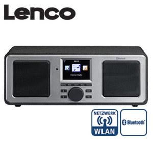 WLAN-Internet-Stereo-Radio DIR-150 mit Bluetooth® 7-cm-LCD-Farb-Display, PLL-FM-Radio, 2 x 8 Watt RMS, 2 Weckzeiten, Wettervorhersage, Equalizer, USB-/Aux-/Kopfhörer-Anschluss, inkl. IR-Fernbedienu