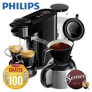 2-in-1 Kaffeeautomat Switch HD  6591/69 Für Filterkaffee · Thermokanne für 7 Tassen Für Padkaffee · frisch gebrühter kaffee in weniger als 60 Sekunden