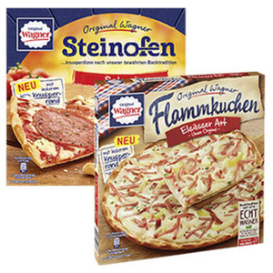 Original Wagner Steinofen Pizza Salami gefroren, jede 320-g-Packung und weitere Sorten