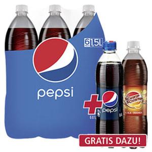 Pepsi* oder Schwip Schwap* (*koffeinhaltig), versch. Sorten,  jede 6 x 1,5-Liter-Packung