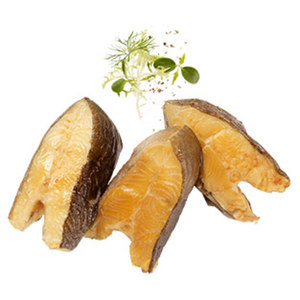 Räucherfischspezialität: Heilbutt - Mittelstücke gold-gelb, vom schwarzen Heilbutt, aus Wildfang, Nordostatlantik, je 100 g