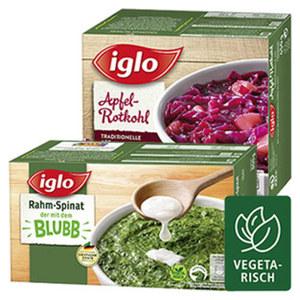 iglo Apfel Rotkohl Minis oder Rahm Spinat Minis gefroren, jede 450/800-g-Packung und weitere Sorten
