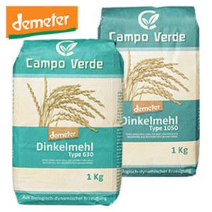 Campo Verde Demeter Bio Dinkelmehl Type 630 oder 1050 jede 1000-g-Packung