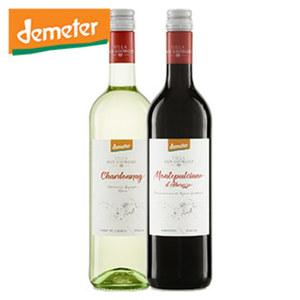 Italien Montepulicano Abruzzo, Pinot Grigio oder Chardonnay Bio Demeter trocken, jede 0,75-l-Flasche