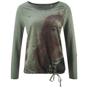 Damen Langarmshirt mit Oil-Washed-Effekt