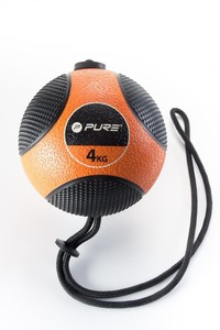 Pure Medizinball mit Seil schwarz/ orange