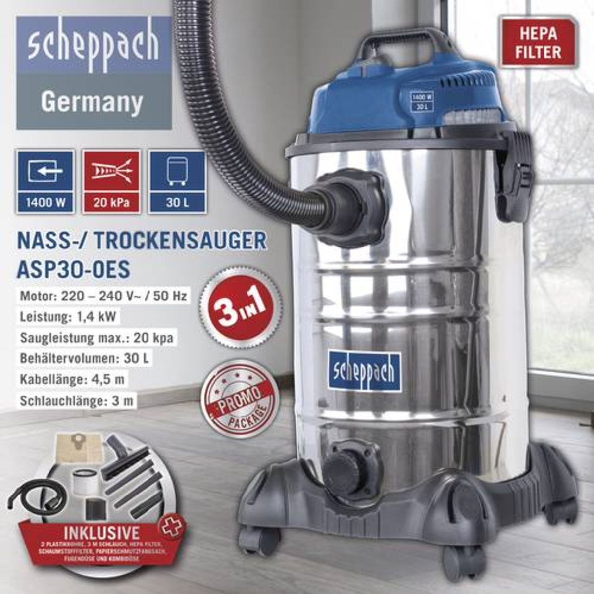 Bild 1 von Scheppach Nass-/ Trockensauger ASP30-OES