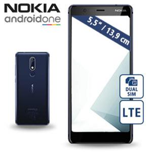 Smartphone Nokia 5.1 · Full-HD+-IPS-Display · 2 Kameras (8 MP/16 MP) · 2-GB-RAM, 16 GB Speicher · microSD™-Slot bis zu 128 GB · Android™ 8.0