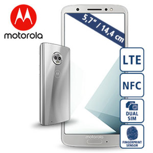 Smartphone Moto G6 · Full-HD+-Display · 3 Kameras (8 MP/ 12 + 5 MP) · 3 GB RAM, 32 GB Speicher · microSD™-Slot bis zu 128 GB · nanoSIM · Android™ 8.0
